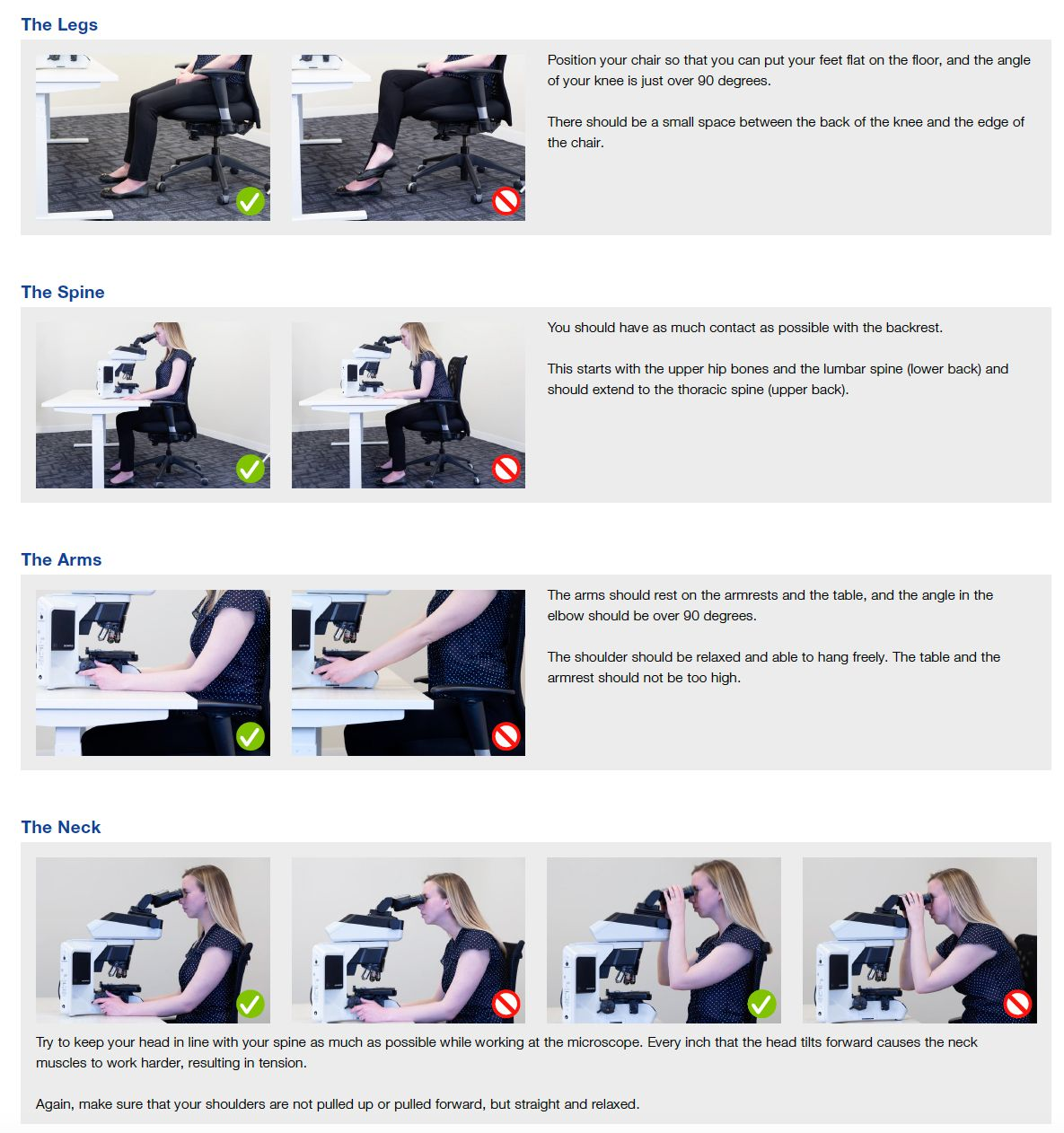 Educational poster defining the ergonomically ideal posture positions for routine microscopy to prevent work-related strain and injury