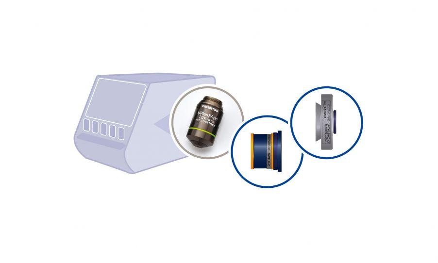 Composants de dispositif d'imagerie microscopique compact pour les FEO